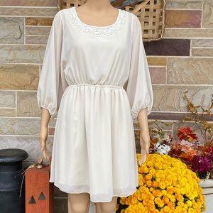 Ing Blousen Dress with Sheer Overlay